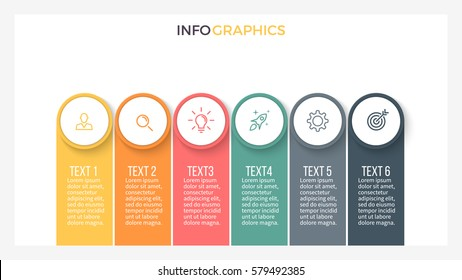 Business infographics. Presentation with 6 steps, options. Vector infographic template.
