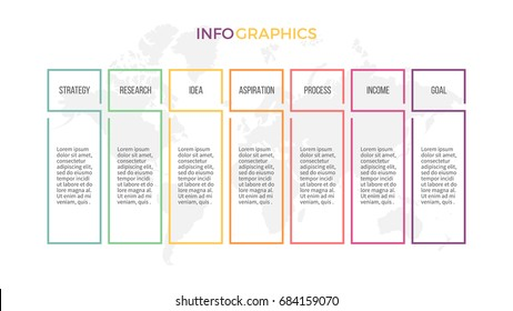 Business infographics. Presentation with 7 columns, options. Vector template.