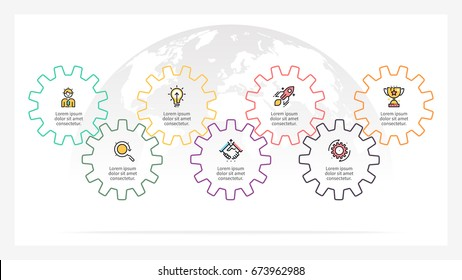 Business infographics. Presentation with 7 steps, gears.