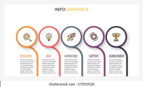 Business infographics. Presentation slide with 5 steps, sections. Vector element.
