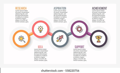 Business infographics. Presentation slide, chart, diagram with 5 steps, options.