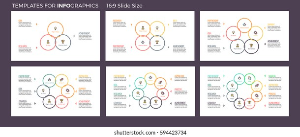 Business infographics. Presentation slides with 3, 4, 5, 6, 7, 8 steps, options, sections. Vector pie charts.