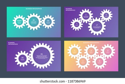 Business infographics. Presentations with 2, 3, 4, 5 steps, options, gears. Vector templates.