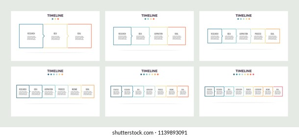 Business infographics. Presentations with 3, 4, 5, 6, 7, 8 columns, options, squares. Vector templates. Editable line.