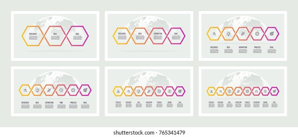 Business infographics. Presentations with 3, 4, 5, 6, 7, 8 steps. Connected hexagons. Vector templates.