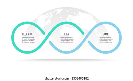 Business infographics. Process with 3 steps, labels, options. Vector chart.