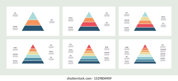 Business infographics. Pyramid charts with 3, 4, 5, 6, 7, 8 steps, options, levels. Vector diagram.