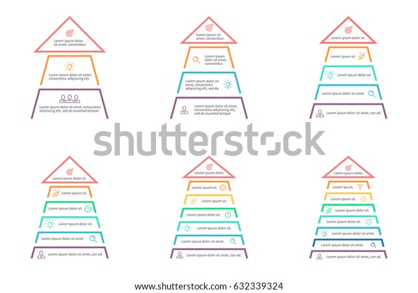 Business infographics. Pyramids, arrows with 3, 4, 5, 6, 7, 8 steps, sections, levels. Vector templates.
