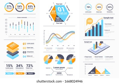 Business infographics set with different diagram. Data visualization elements, marketing charts and graphs. Website and presentation template. Abstract infographics data template. Vector illustration