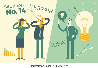 Business infographics, business situations. A man and a woman holding onto a head, a problem, a failure, a crisis at work. But there is a solution, an idea. Business people. Vector illustration of fla