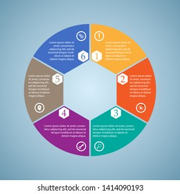 Business InfoGraphics, six pieces circle diagram, hexagon, step presentation, section banner, Vector Illustration
