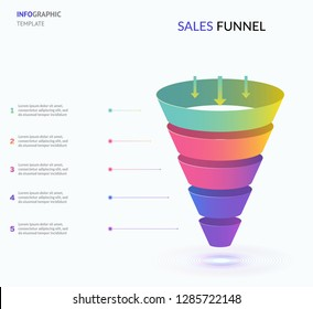 Business infographics with stages of a Sales Funnel. Concept of five stages of startup development. Modern infographic design template. Vector illustration for presentation