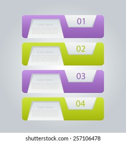 Business infographics tabs template for presentation, education, web design, banners, brochures, flyers.  Green and purple. Vector illustration.