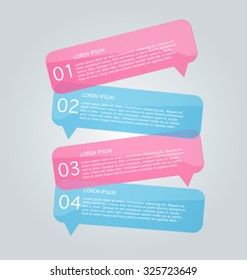 Business infographics tabs template for presentation, education, web design, banners, brochures, flyers. Pink and blue colors. Pink and blue. Vector illustration.