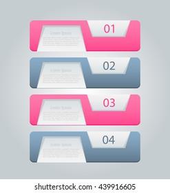 Business infographics tabs template for presentation, education, web design, banner, brochure, flyer. Pink and grey colors. Vector illustration
