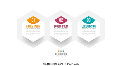 Business Infographics template with 3 steps, options or data. Vector linear infographic three elements for presentations, workflow layout, infographic, banner, process diagram, flow chart.