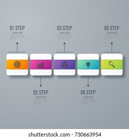 Business infographics template 5 steps with square. Stock vector. Dynamic infographics stylish geometric. element for design business invitations, gift cards, flyers and brochures
