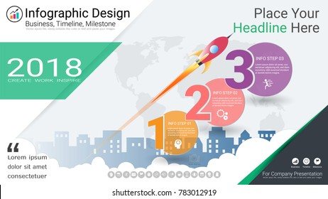 Business infographics template, Milestone timeline or Road map with Process flowchart 3 options, Strategic plan to define company values, Scheduling in project management to make facts and statistics.