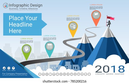 Business infographics template, Milestone timeline or Road map with Process flowchart 4 options, Strategic plan to define company values, Scheduling in project management to make facts and statistics.
