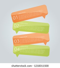 Business infographics template for presentation, education, web design, banners, brochures, flyers. Orange and green tabs. Vector illustration.