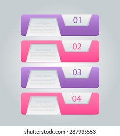 Business infographics template for presentation, education, web design, banners, brochures, flyers. Purple and pink tabs. Vector illustration