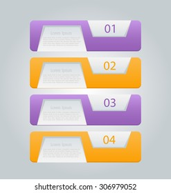 Business infographics template for presentation, education, web design, banners, brochures, flyers. Purple and orange tabs. Vector illustration.