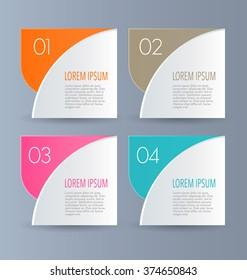 Business infographics template for presentation, education, web design, banners, brochures, flyers. Orange, brown, pink, blue color tabs. Vector illustration.