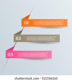 Business infographics template for presentation, education, web design, banners, brochures, flyers. Orange, brown, pink, blue color tabs. Vector illustration