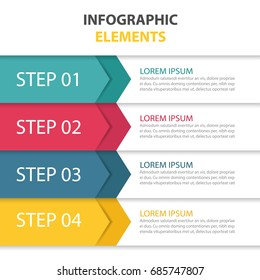 Business infographics template for presentation, education, web design, banners, brochures. Clean numbered banners for sample text or step lable infographic elements.Vector design template.