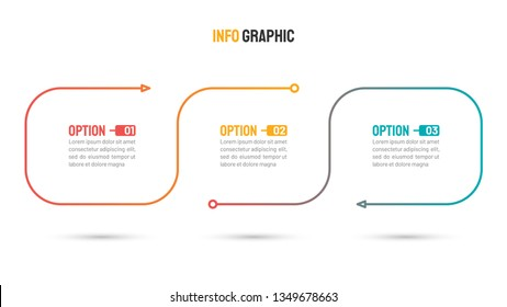 Business infographics template. Timeline elements design with marketing icons and 3 steps, options. Vector illustration. Can be used for workflow diagram, annual report, graph, web design.