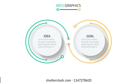 Business Infographics template.Timeline with 2 steps, circles, options and marketing icons .Vector linear infographic elements.
