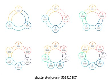 Business infographics. Thin line infographic elements with 3, 4, 5, 6, 7, 8 steps, circles, rings. Vector pie charts.