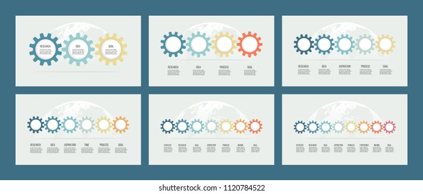 Business infographics. Timeline with 3, 4, 5, 6, 7, 8 steps, gears. Vector templates.