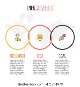 Business infographics. Timeline with 3 steps, circles, rings. Vector design template.