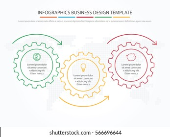 Business infographics. Timeline with 3 steps, gears, cogwheels.