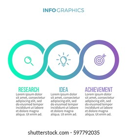 Business infographics. Timeline with 3 steps, sections. Vector pie charts.