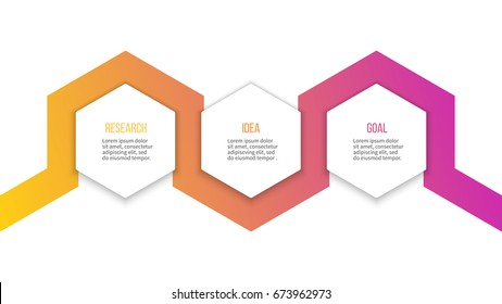 Business infographics. Timeline with 3 steps, hexagons. Vector template.