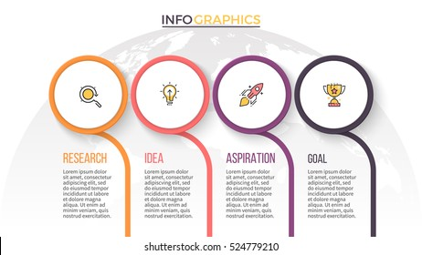 Business infographics. Timeline with 4 circles, steps. Vector infographic element.