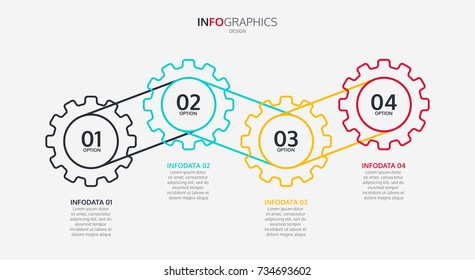 Business infographics. Timeline with 4 cogs design, options, number options. Vector illustration