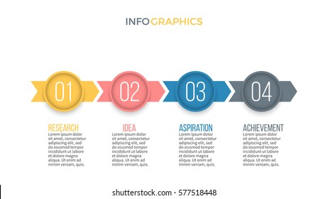 Business infographics. Timeline with 4 step, options, arrows. Vector infographic element.