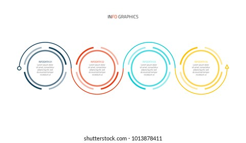 Business infographics. Timeline with 4 steps or options, circles, arrows. Vector infographic element.