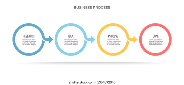 Business infographics . Timeline with 4 steps, circles, options. Vector infographic element.