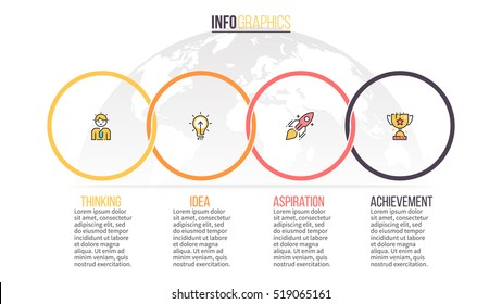 Business infographics. Timeline with 4 steps, circles, rings. Vector infographic element.