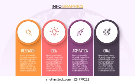 Business infographics. Timeline with 4 steps, labels. Vector infographic element.