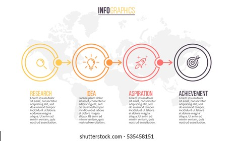 Business infographics. Timeline with 4 steps, circles, arrows. Vector linear infographic element.