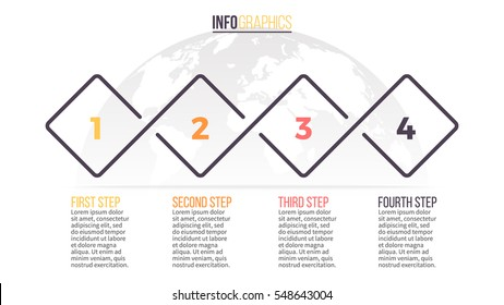 Business infographics. Timeline with 4 steps. Vector infographic element.
