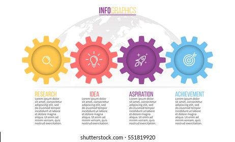 Business infographics. Timeline with 4 steps, gears, cogwheels.