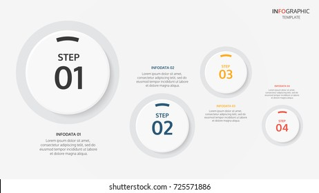Business infographics. Timeline with 4 steps, circles,line,modern. Vector design infographic element.