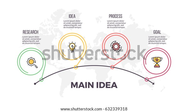 Business infographics. Timeline with 4 steps, options. Thin line vector infographic template.