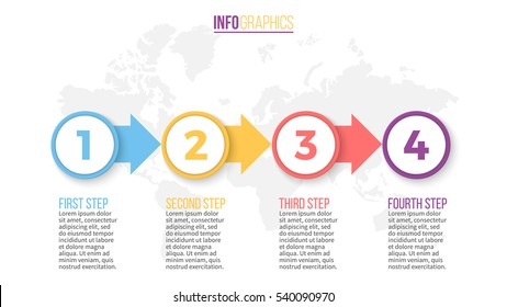 Business infographics. Timeline with 4 steps.Vector infographic element.